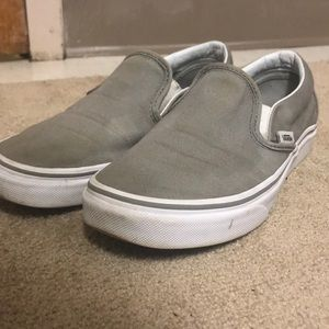 Gray slip on vans